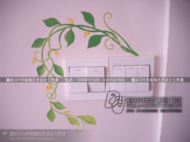【重庆手绘墙·diy墙绘工作室】·顺祥电视墙·开关手绘