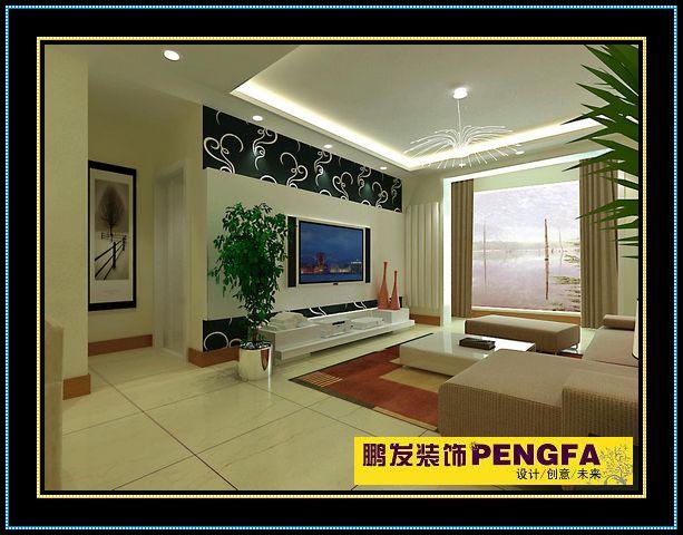 客厅特色的电视背景墙:轻钢龙骨石膏板乳胶漆饰面+壁