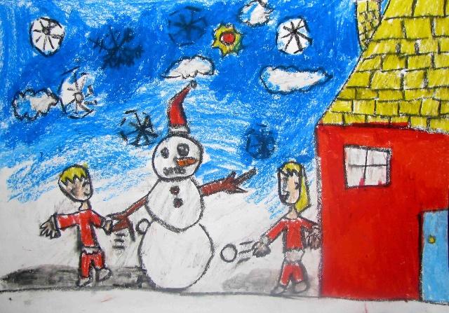 风景儿童画 - 我爱简笔画 [风景简笔画]=简笔画=乡村雪景简笔画-圣