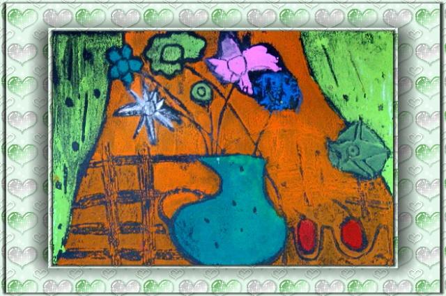 绘画社——彩色粉印纸版画《瓶花》展出-行走的纸手帕