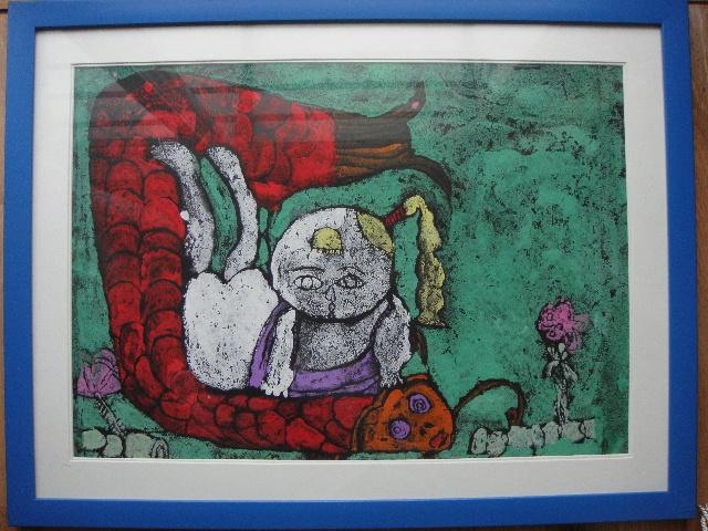 """女儿的绘画作品《鲤鱼娃娃》,在""""可爱的祖国,2009"""