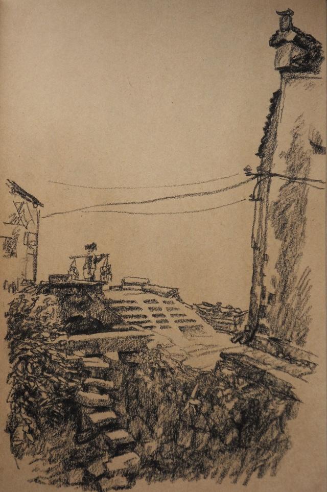 4班到安徽屏山写生,学生画风景水粉,我也画了几张速写,是画在牛皮纸的