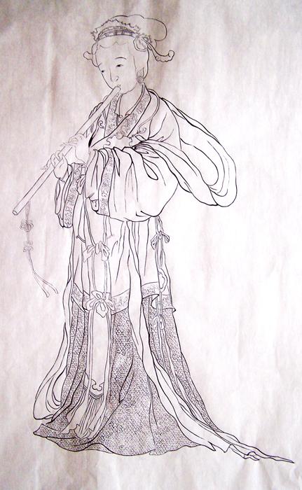 戴皇冠女孩手绘