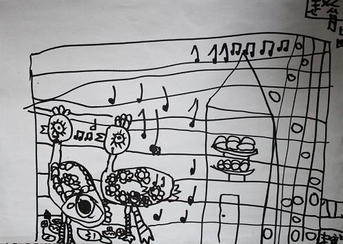 简笔画—公鸡家族-art