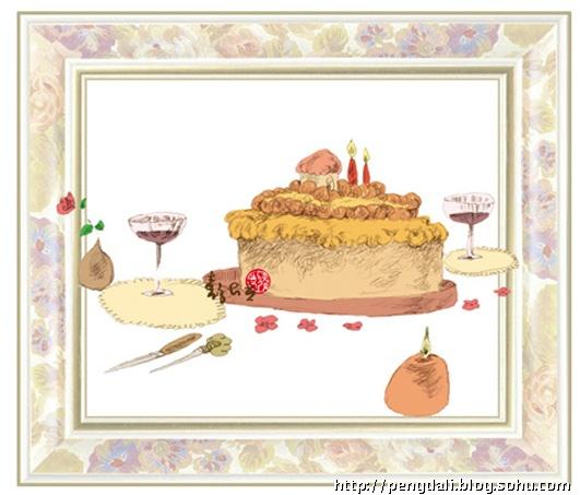 (铅笔淡彩); 生日蛋糕彩铅画; 我只记得那个生日蛋糕的甜美好滋味.