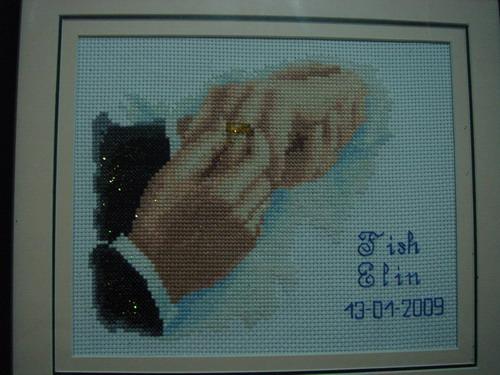 边框~~ (主题十字绣):贴心的浣熊同学还特地绣上了我们公证结婚的日