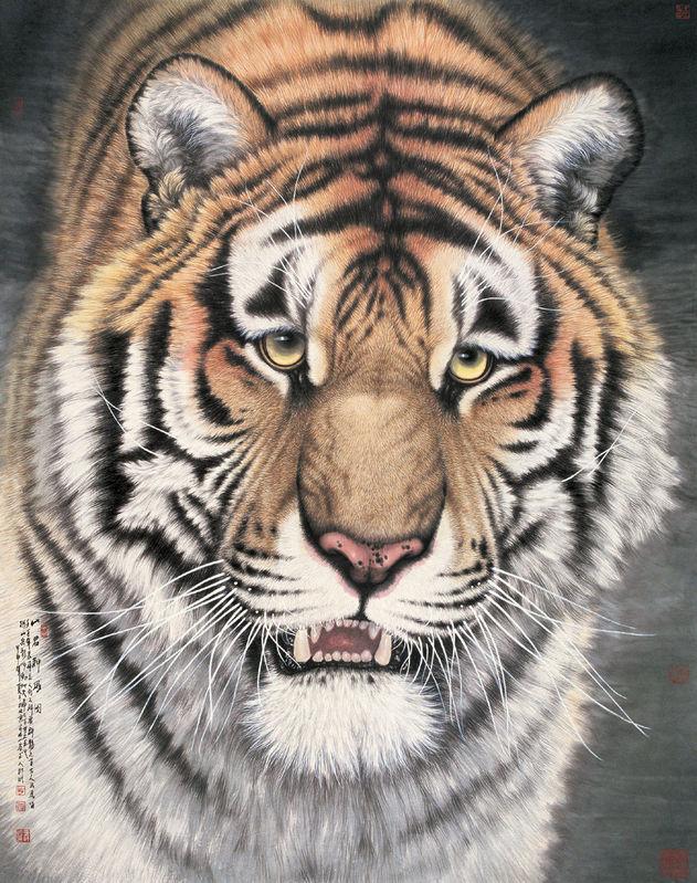 蔡先生用国画水墨技法画虎,他画的老虎,真是虎虎生威,凶猛霸气.